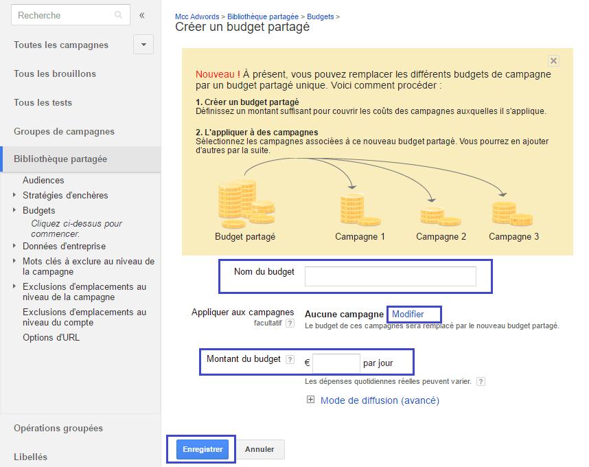Google Adwords budgets partagés 2