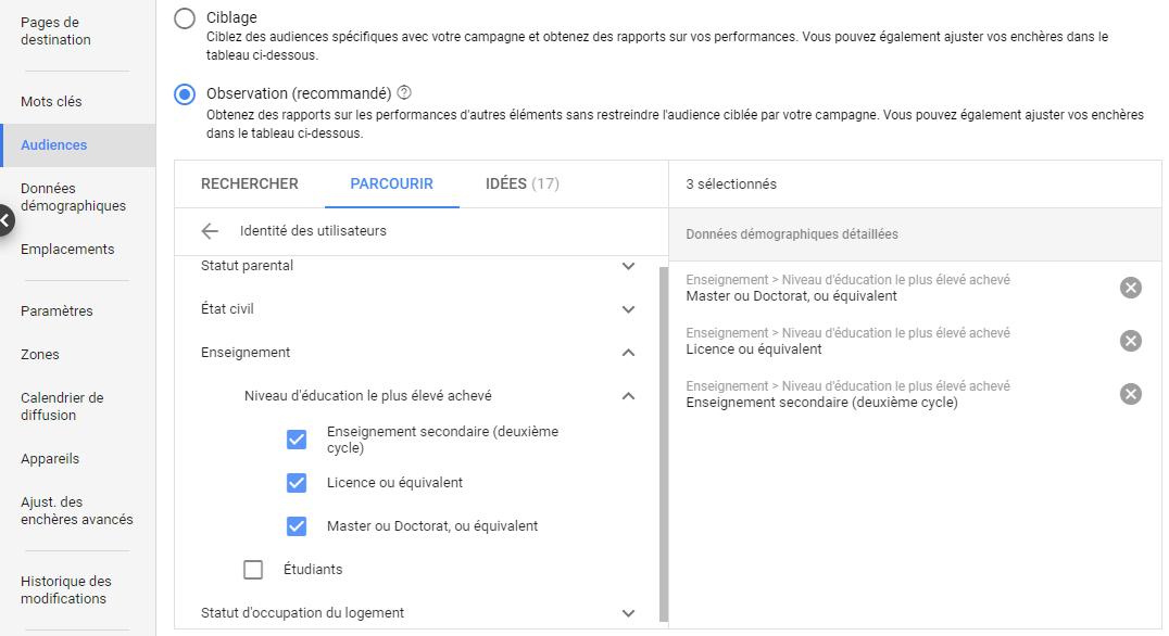 Critères de ciblage démographique Google Ads