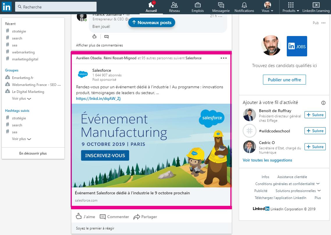 Publicité sur Linkedin